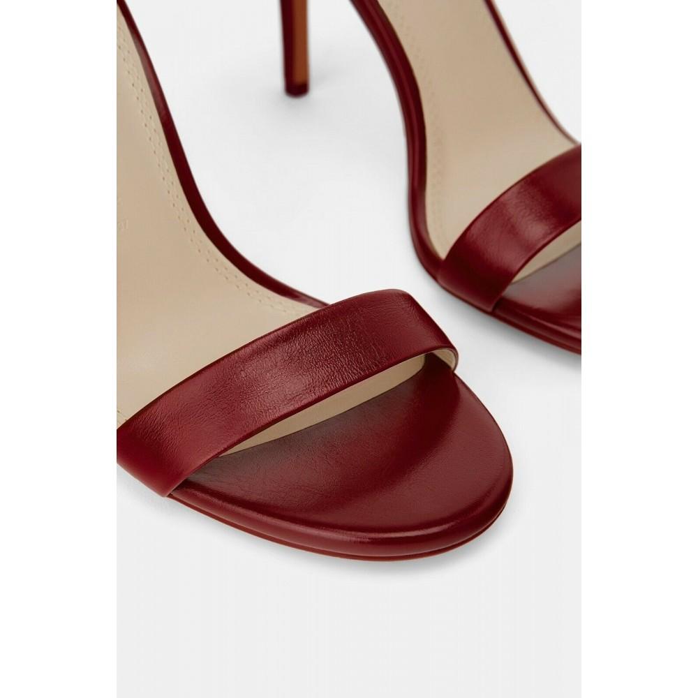 Zara Leather High Heel Sandals (Maroon)