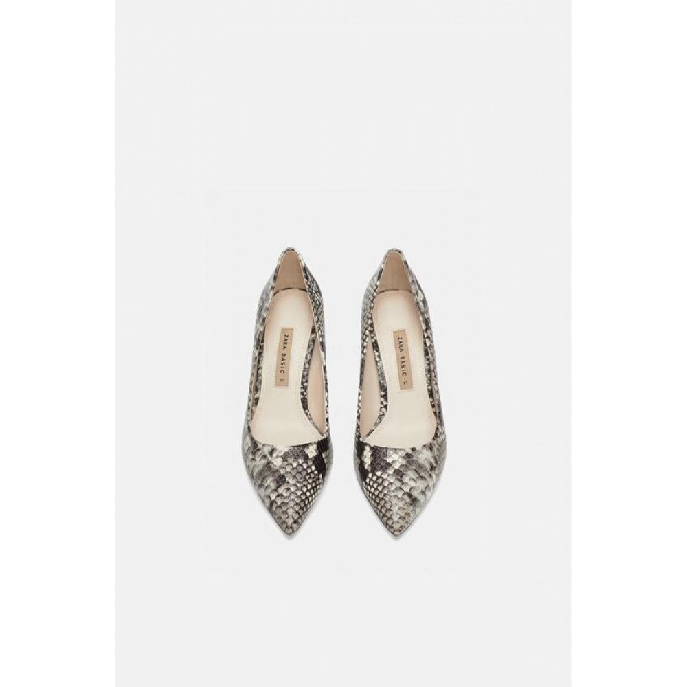 Zara Snakeskin Print Leather High Heels