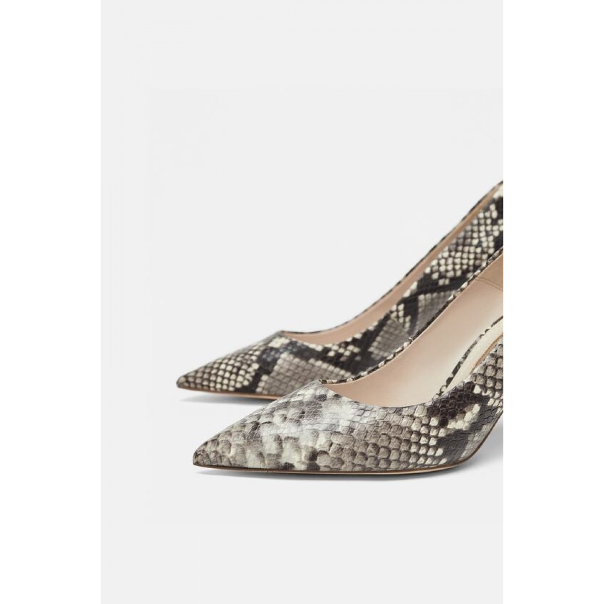 Zara Snakeskin Print Leather High Heels