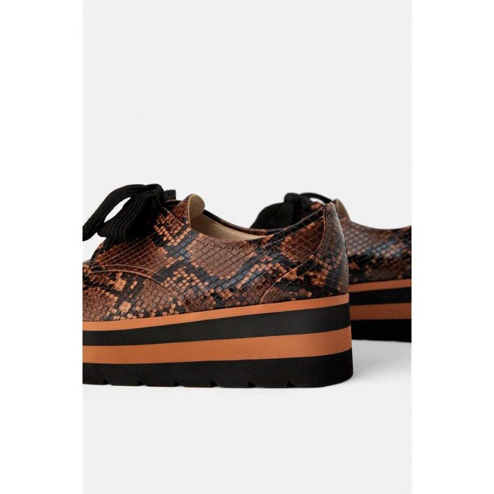 Zara Animal Print Platform Derby Shoes
