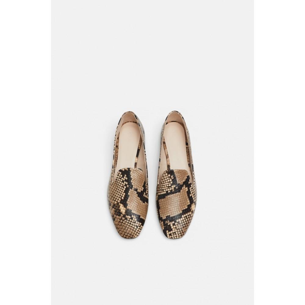 Zara Animal Print Leather Loafers