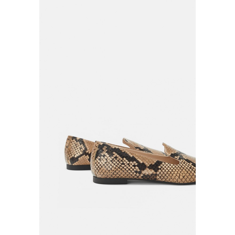 Zara Animal Print Leather Loafers