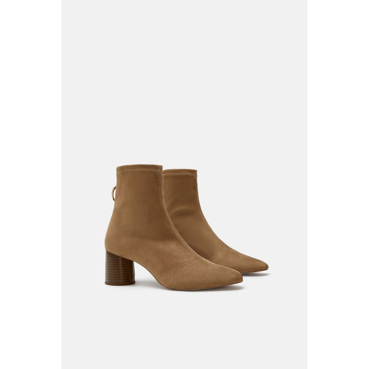 Zara Stretch Heeled Ankle Boots With Ring Detail