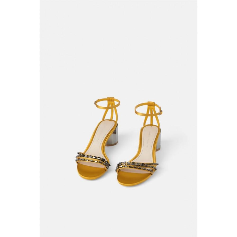 Zara Geometric Mid Heel Shoes With Rhinestones