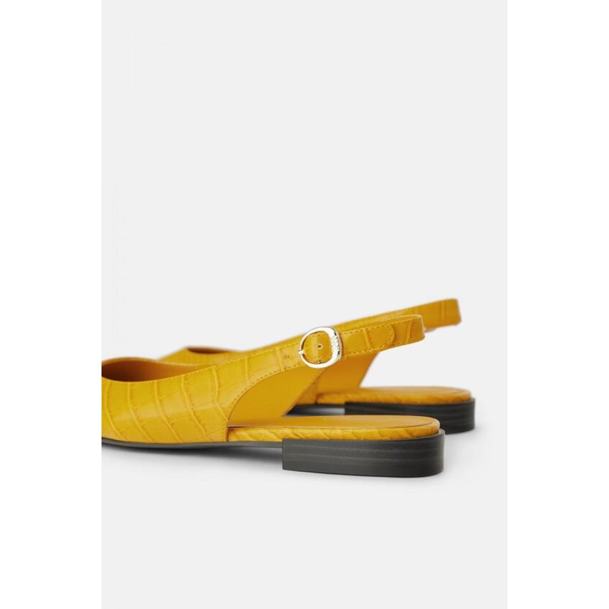 Zara Animal Print Slingback Flat Shoes (Yellow)