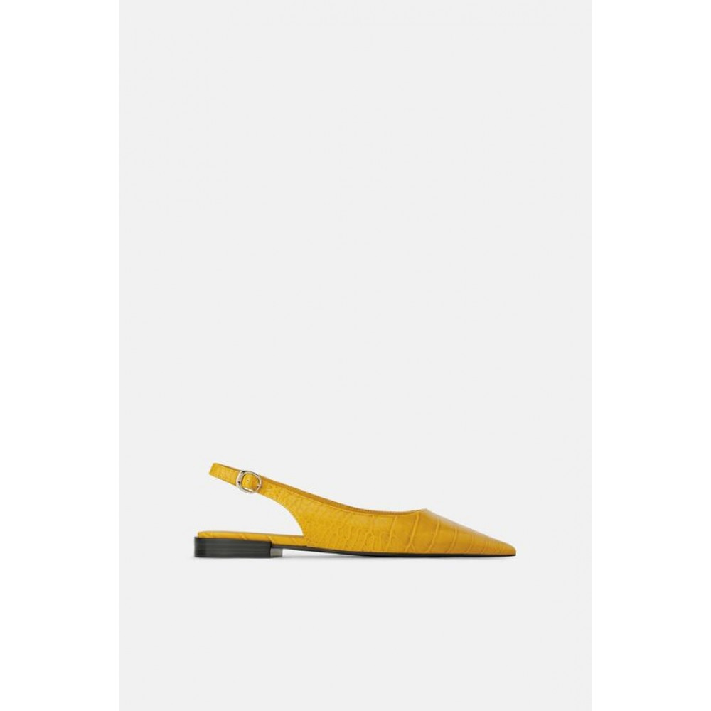 Zara Animal Print Slingback Flat Shoes (Yellow)