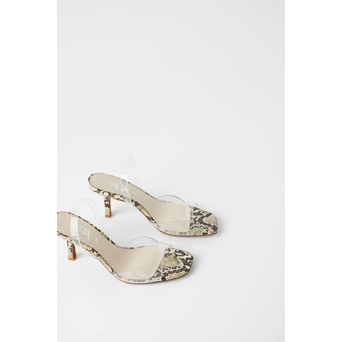 Zara Vinyl Animal Print Heeled Sandals
