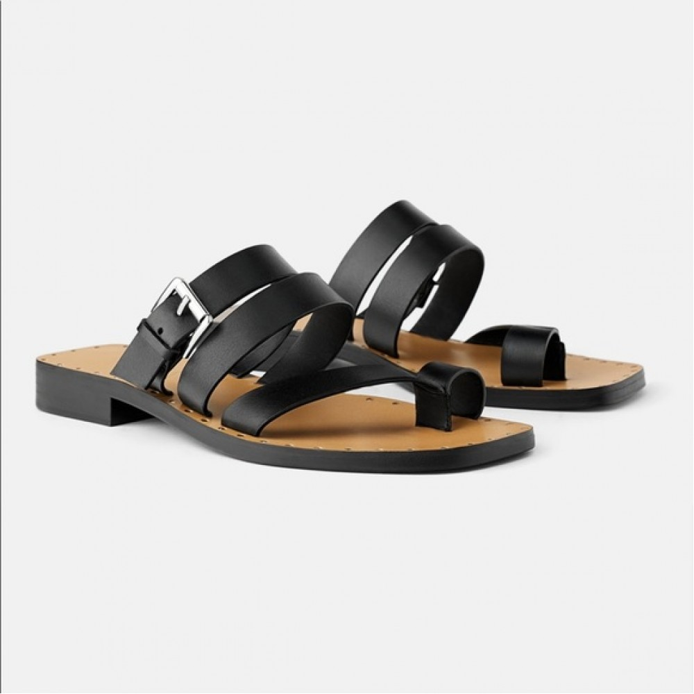 Zara Leather Black Buckle Sandals