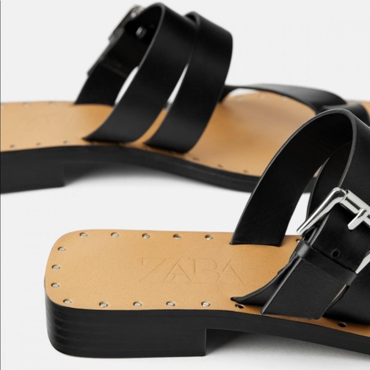 Zara Leather Black Buckle Sandals