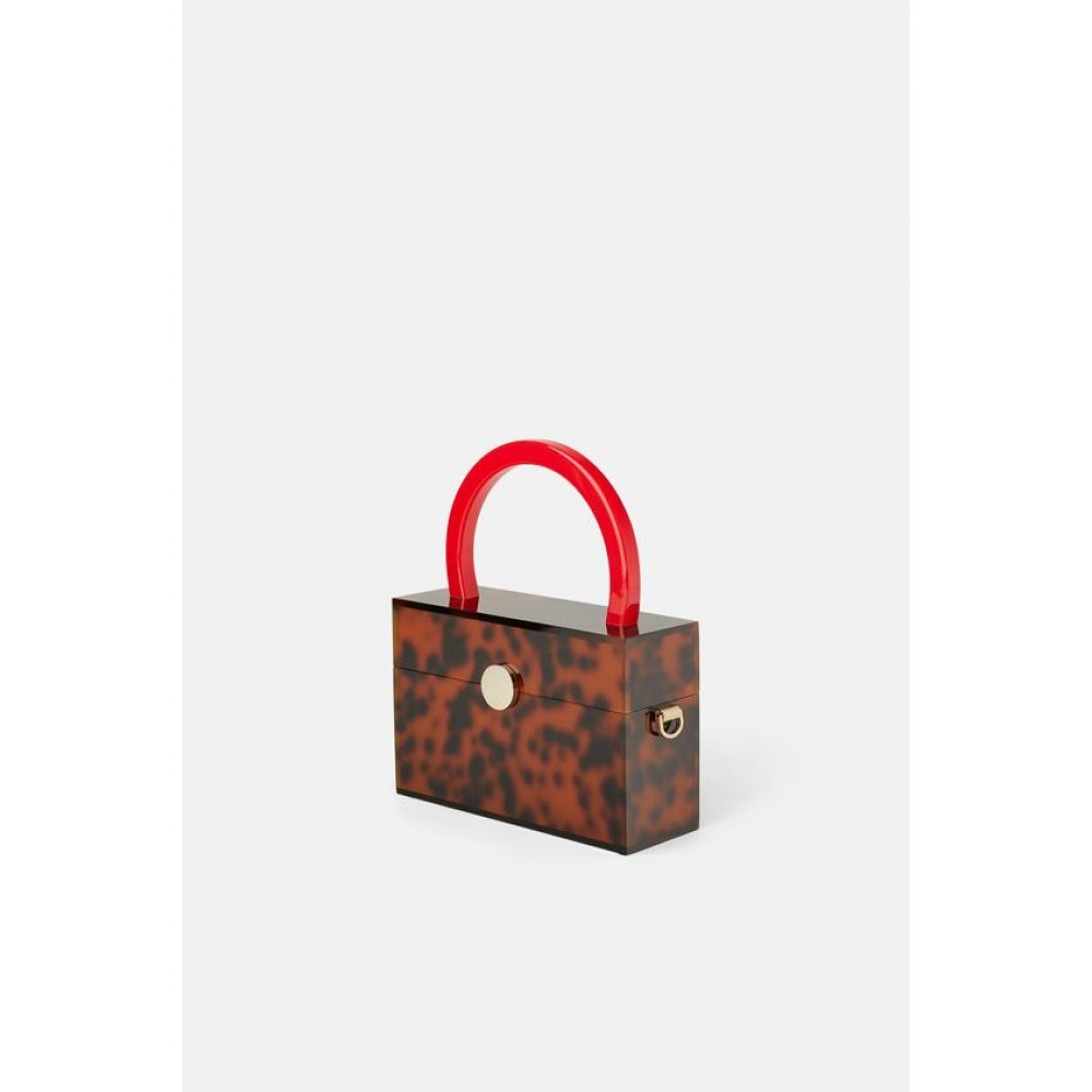 Zara Methacrylate Animal Print Hand Bag