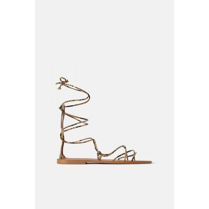 Zara Animal Print Flat Sandals With Straps