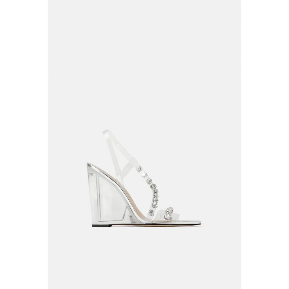 Zara Embellished Vinyl Methacrylate Heeled Sandals