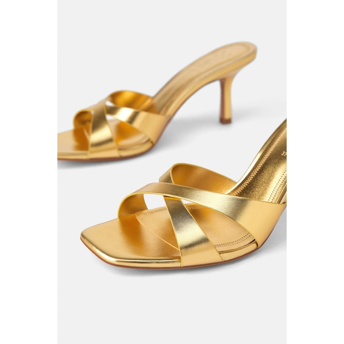 Zara Cross Strap Slide Heels