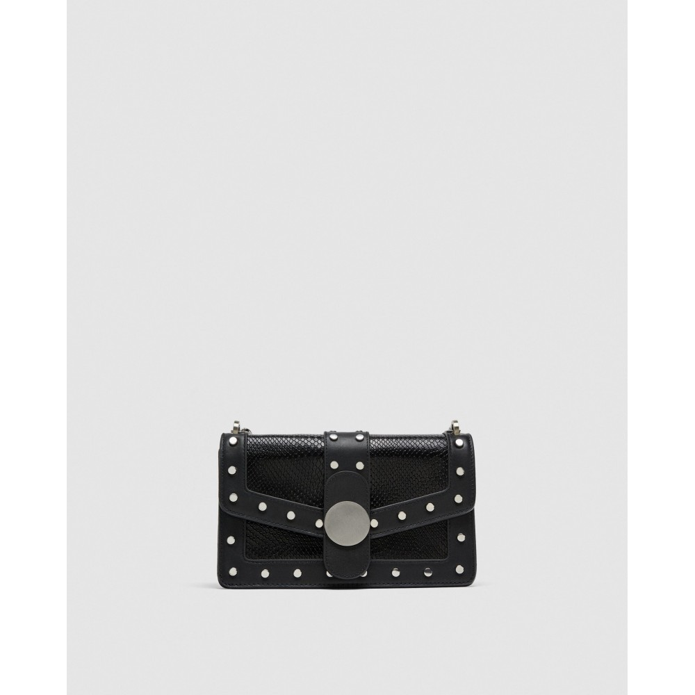 Zara Studded Leather Crossbody Bag