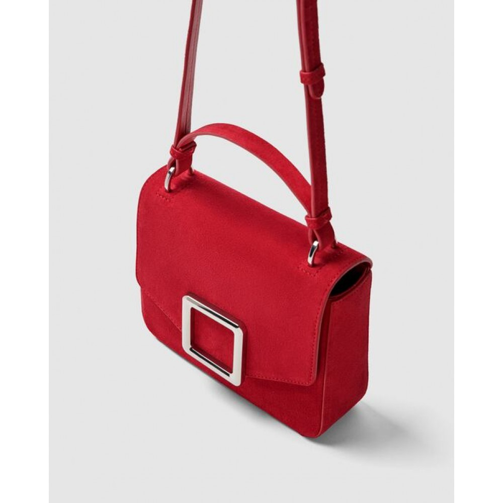 Zara Leather Crossbody Bag With Square Fastener