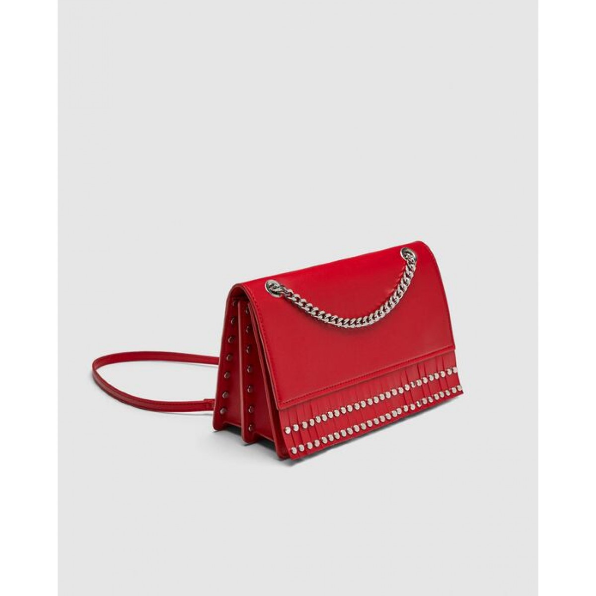 Zara Studded Crossbody Bag With Fringe
