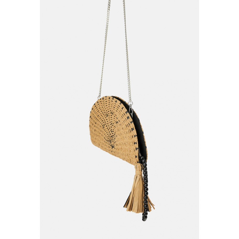 Zara Natural Half-Moon Crossbody Bag