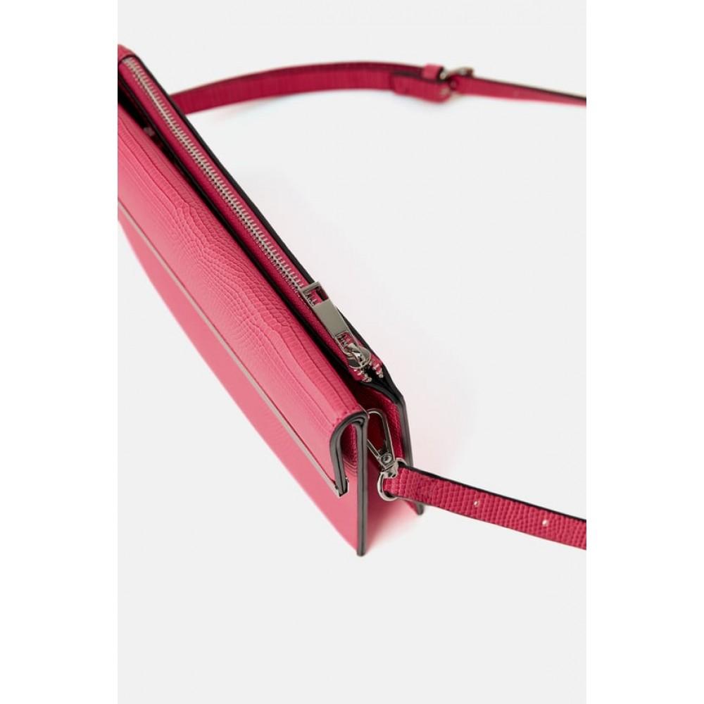 Zara Animal Print Double-Purse Crossbody Bag