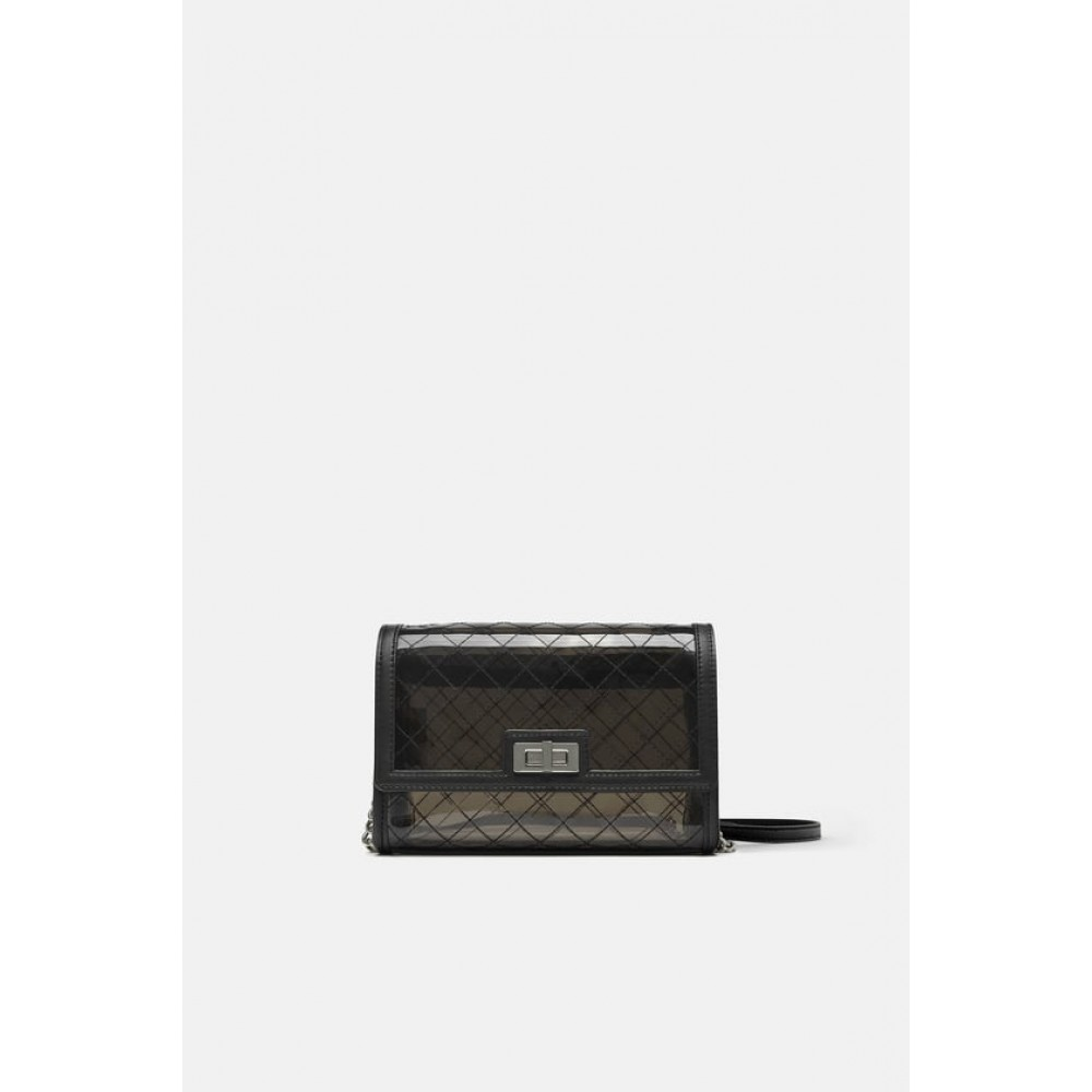 Zara Vinyl Crossbody Bag With Interior Bag
