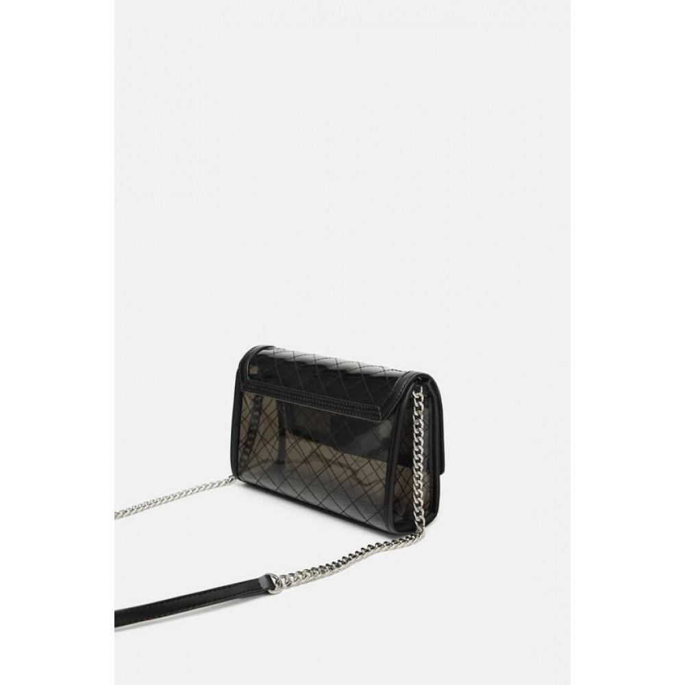 Zara Vinyl Crossbody Bag With Interior Bag