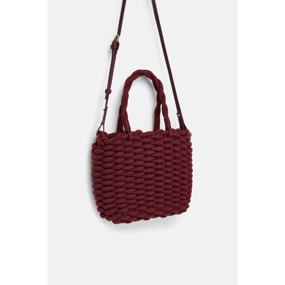 Zara Braided Rope Tote Handbag