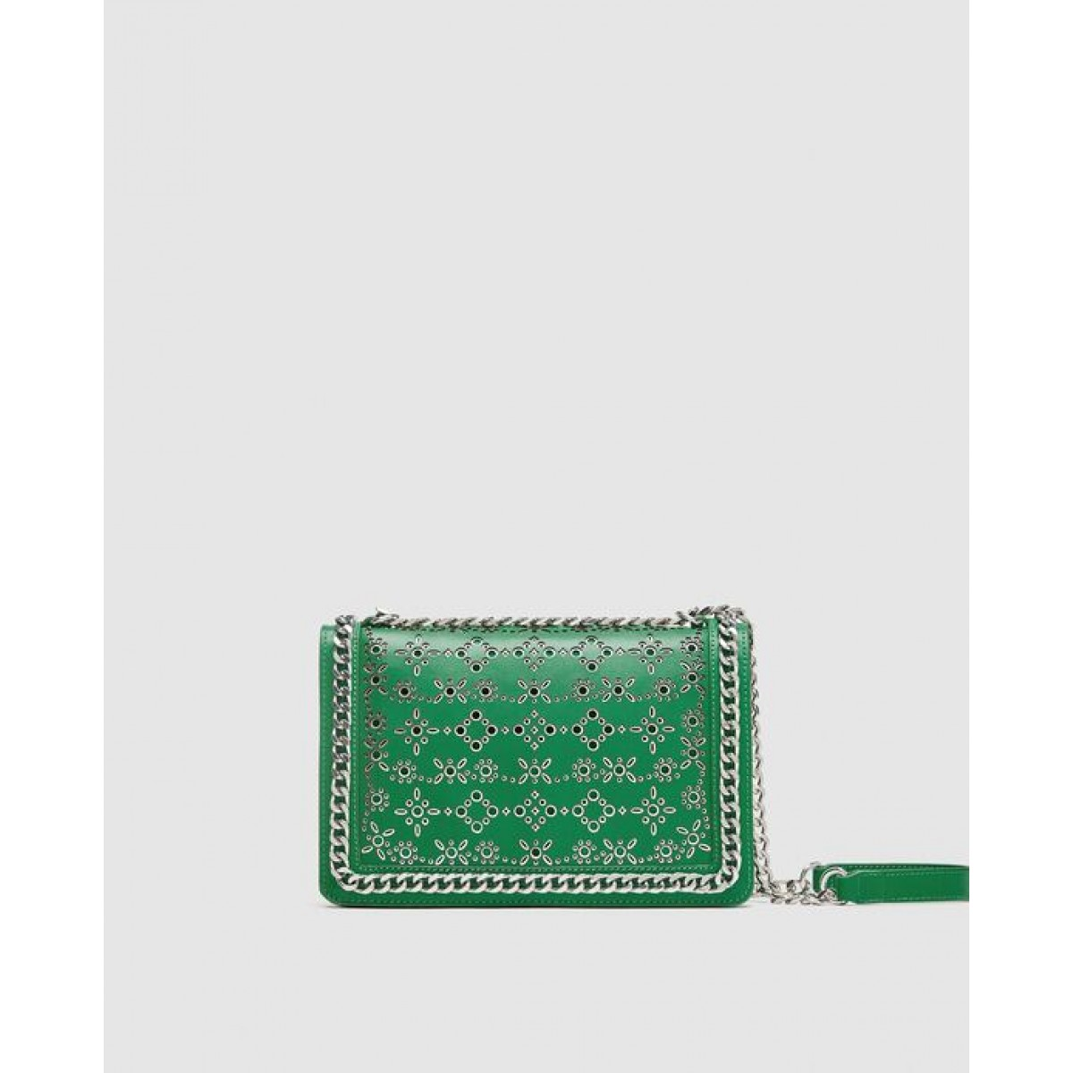 Zara Die-Cut Leather Crossbody Bag With Chain Trims