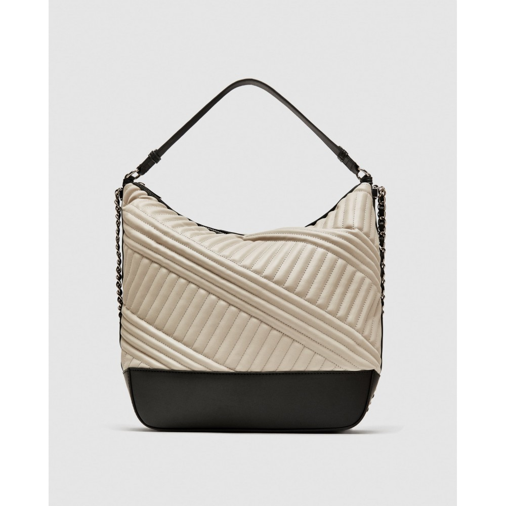 Zara Quilted Bucket Bag With Chain Detail