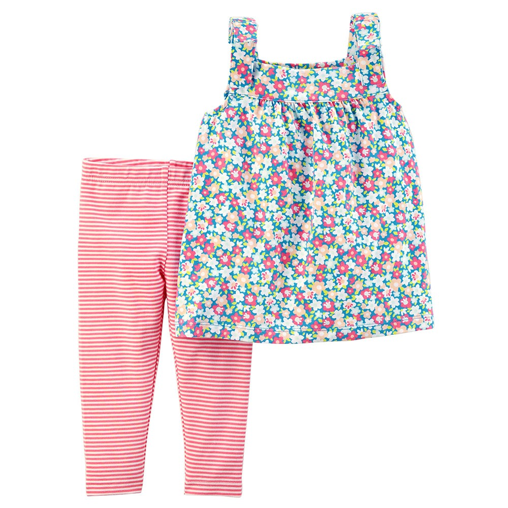 Carter's 2-Piece Floral Tie Shoulder Top & Striped Capri Legging Set
