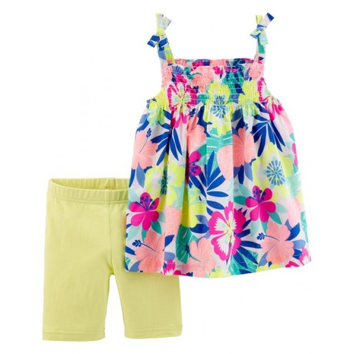 Carter's 2-Piece Floral Tie Shoulder Tank & Tumbling Short Set