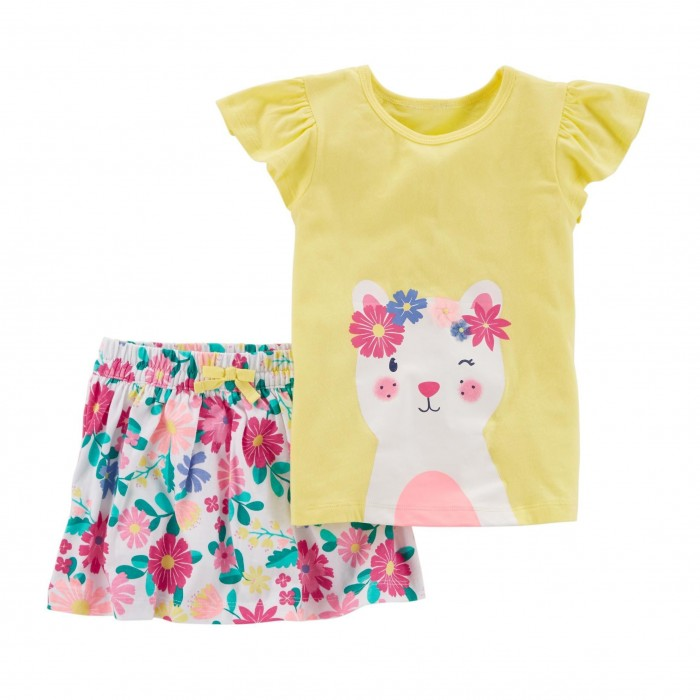 Carter's 2-Piece Kitty Top & Floral Skirt Set