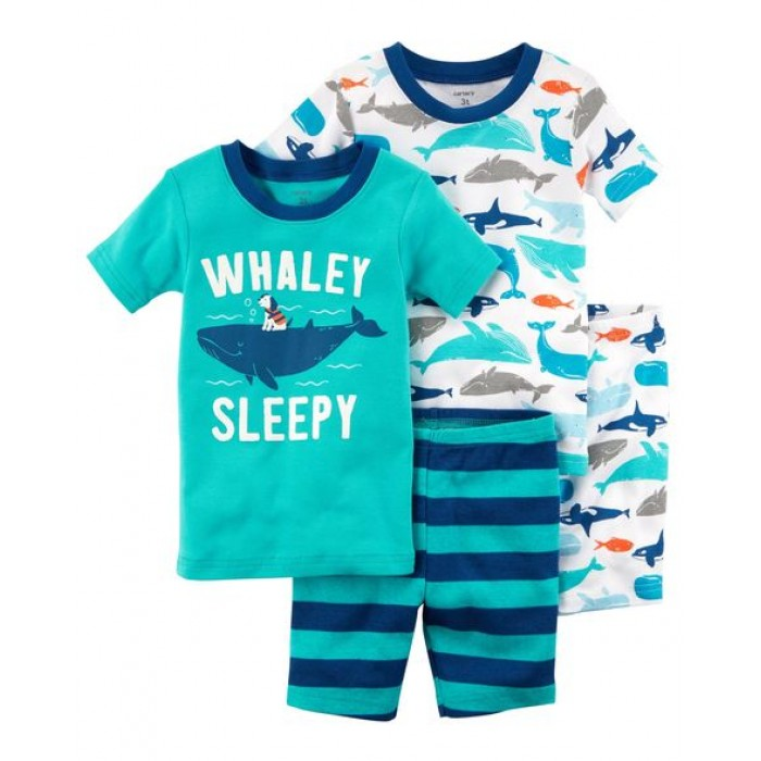 Carter's 4-Piece Whale Snug Fit Cotton PJs