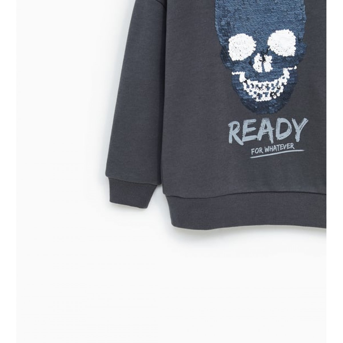 Zara Double Sequinned Skull Sweatshirt