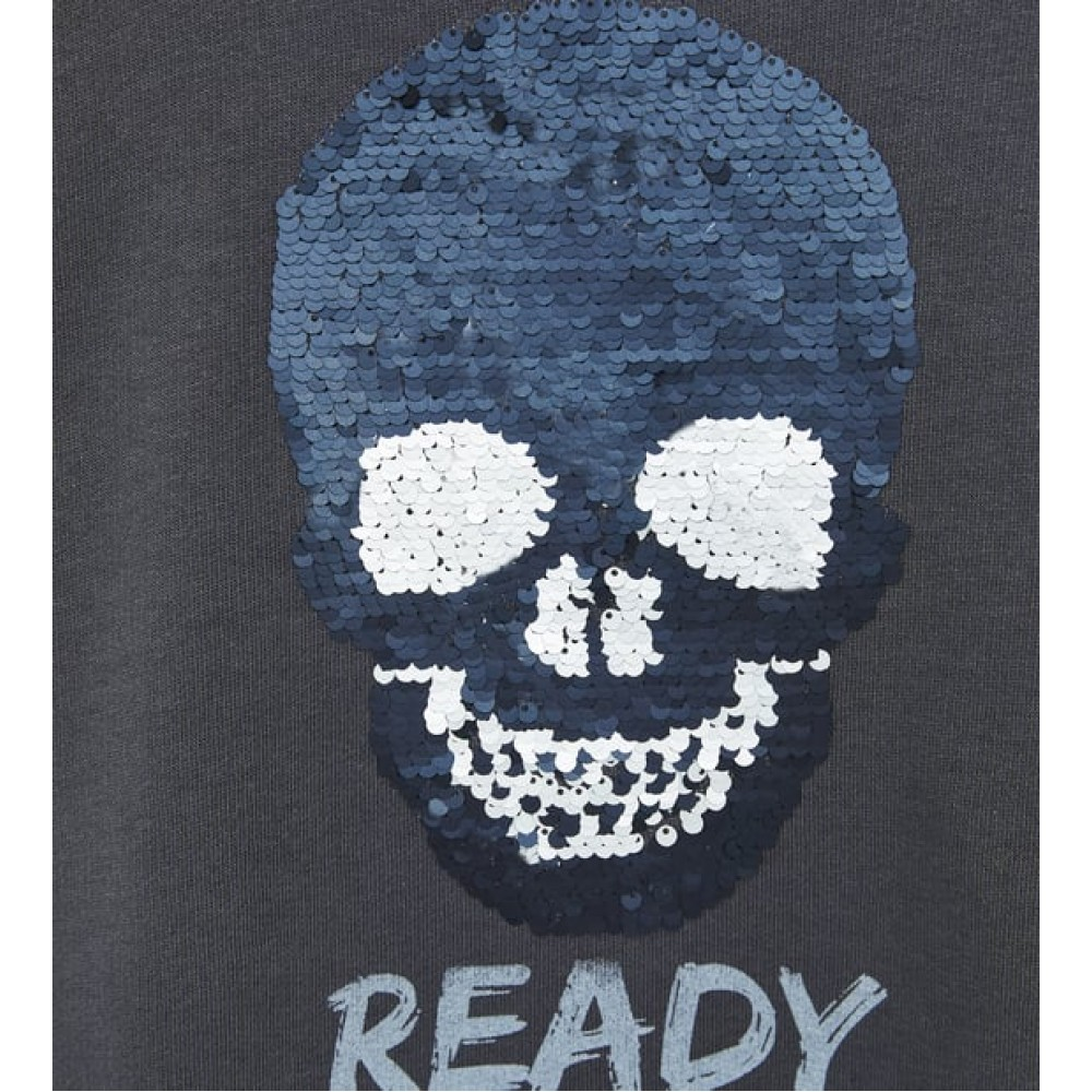 Zara Double Sequinned Skull Sweatshirt