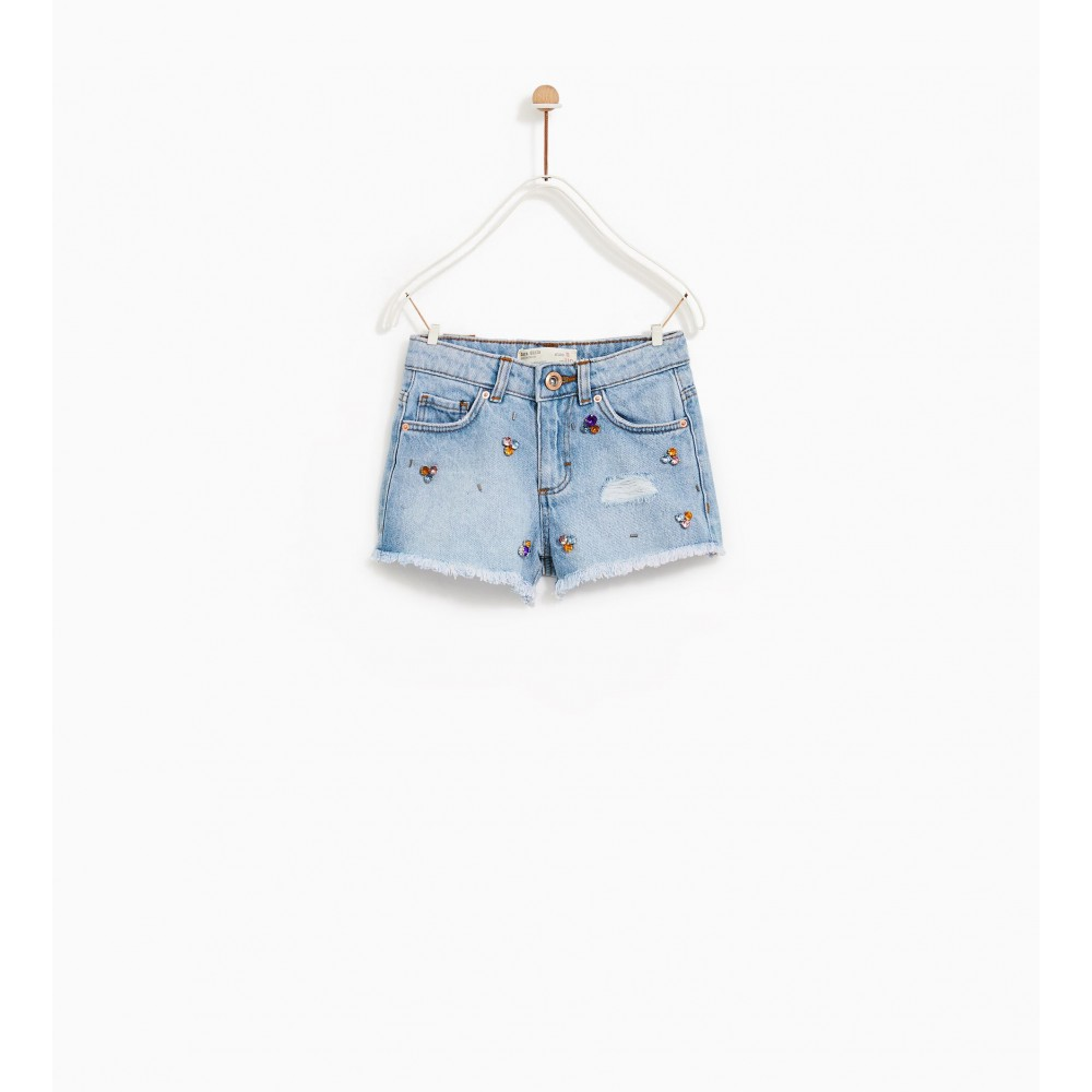 Zara Bejewelled Denim Bermuda Shorts