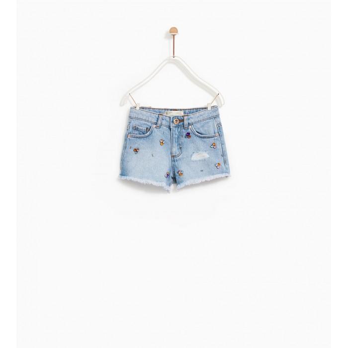 Zara Bejewelled Denim Bermuda Shorts