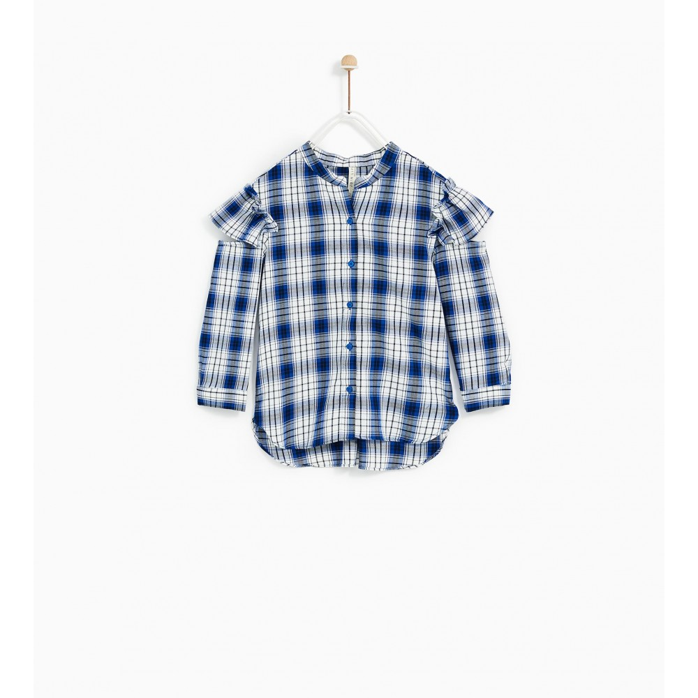Zara Checked Shirt With Split Seam Shoulder Detail