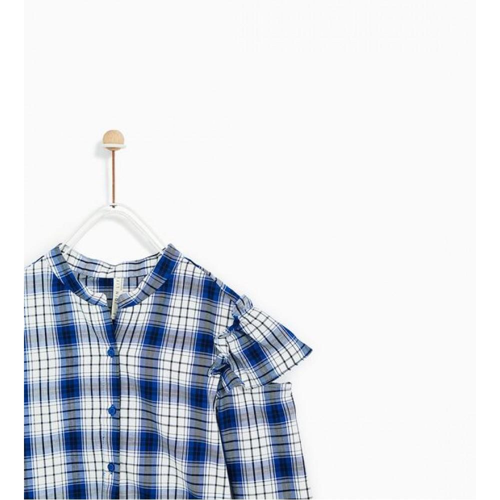 Zara Checked Shirt With Split Seam Shoulder Detail