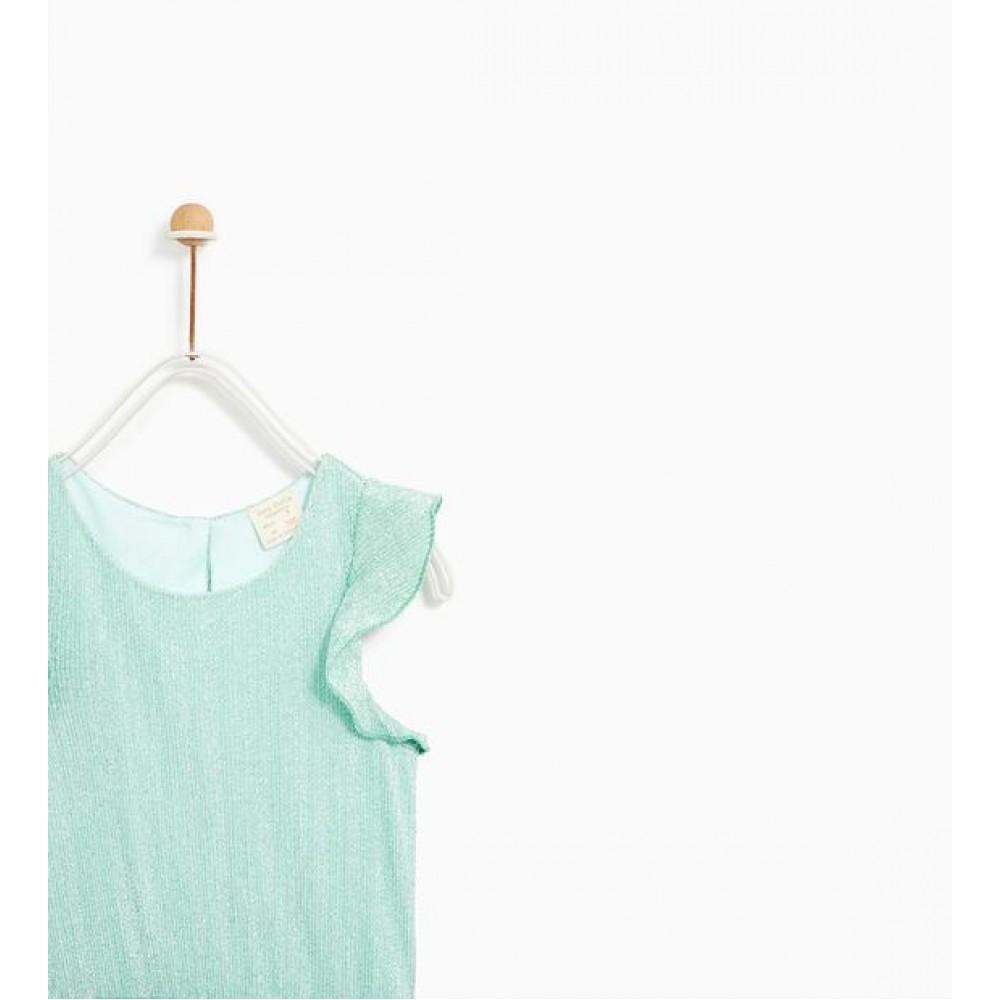 Zara Shiny Pleated Dress