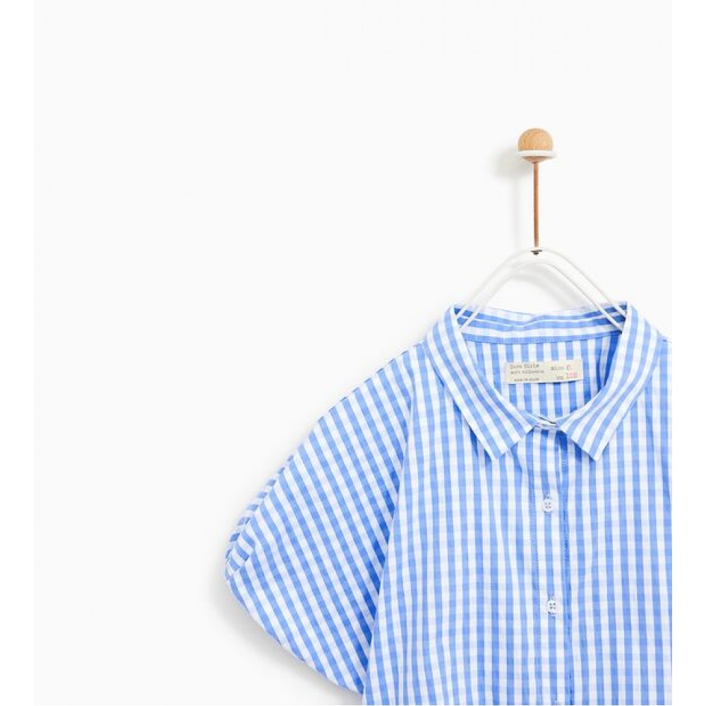 Zara Checked Shirt With Knot Detail