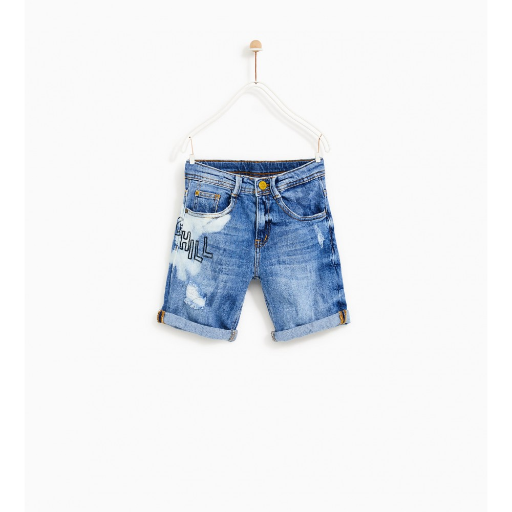 Zara Denim Bermuda Shorts With Slogan