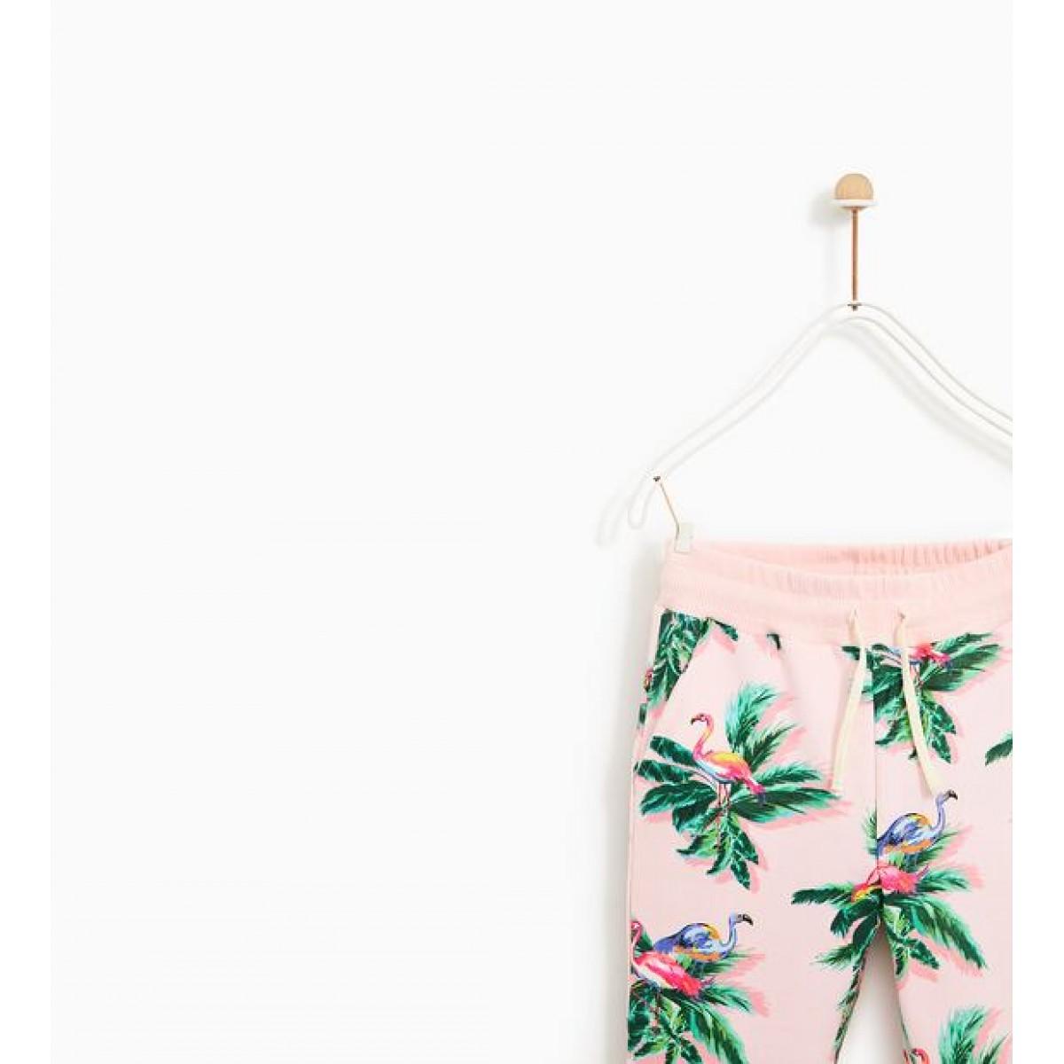 Zara Plush Jersey Trousers With Flamingo Print