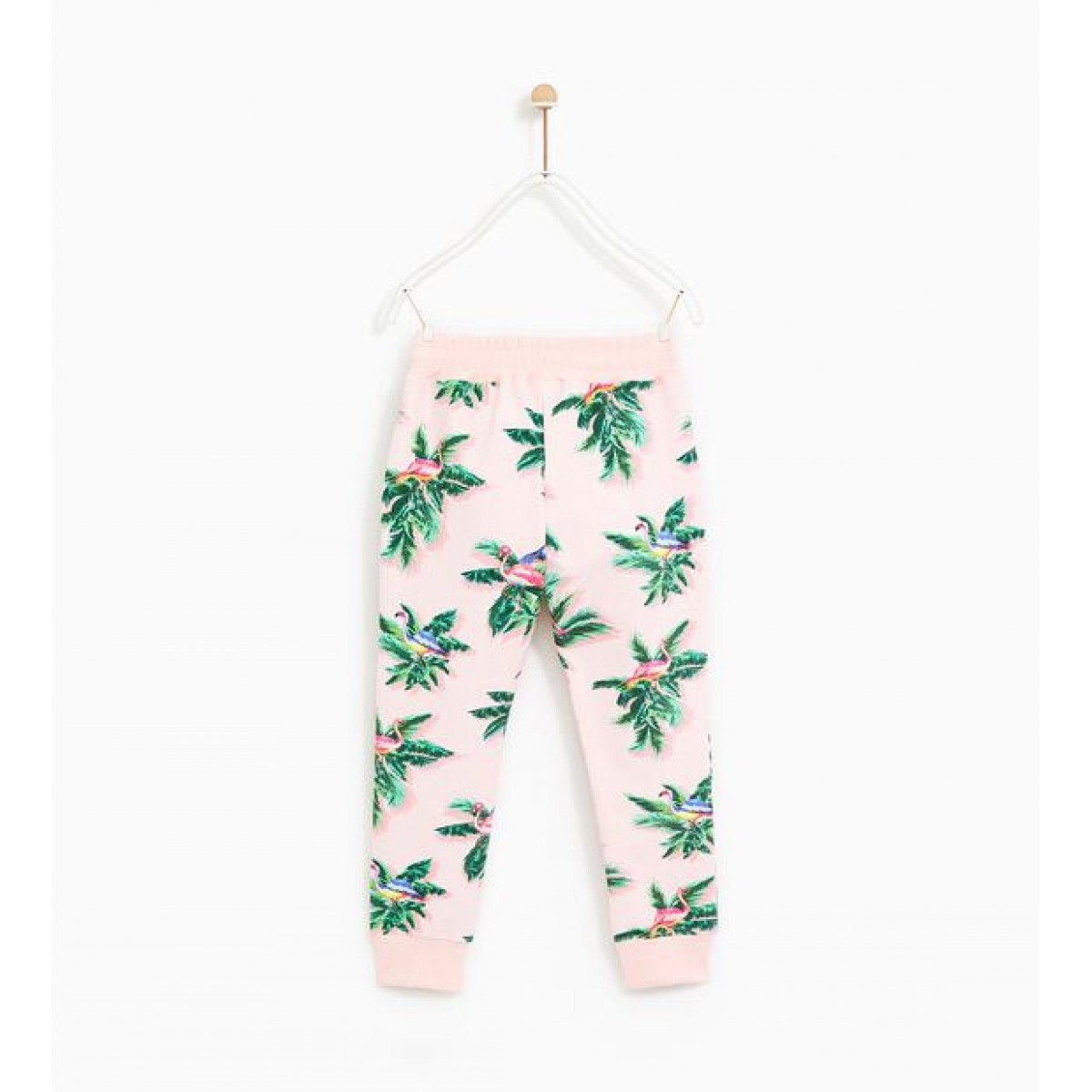 Zara Plush Jersey Trousers With Flamingo Print