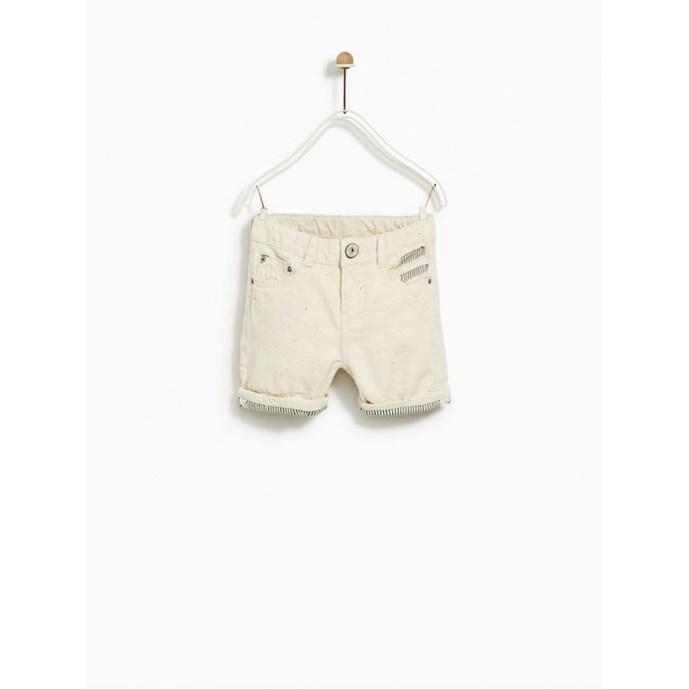 Zara Ripped Denim Bermuda Shorts
