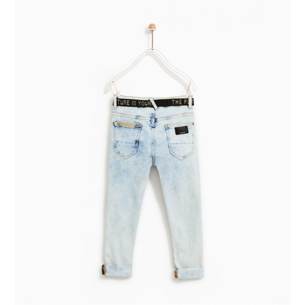 Zara Ripped Jeans With Belt And Patches