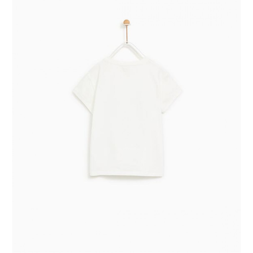Zara Printed T-Shirt With Appliques