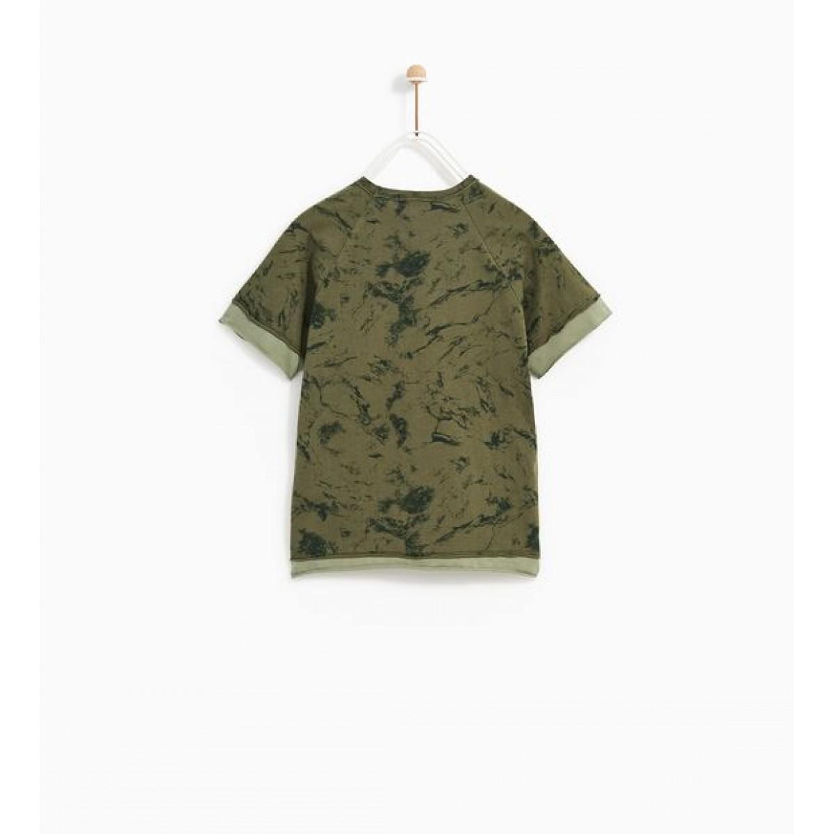Zara Camouflage Slogan T-Shirt
