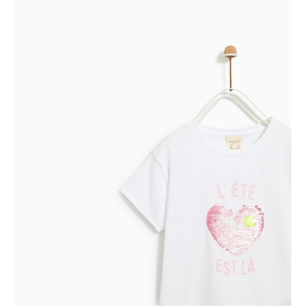 Zara T-Shirt With Reversible Sequin Applique-T-Shirts