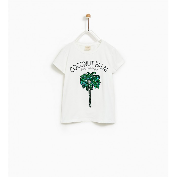 Zara Coconut Palm T-Shirt With Appliques-T-Shirts