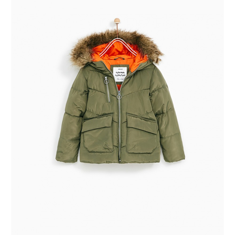 Zara Puffer Jacket With Hood