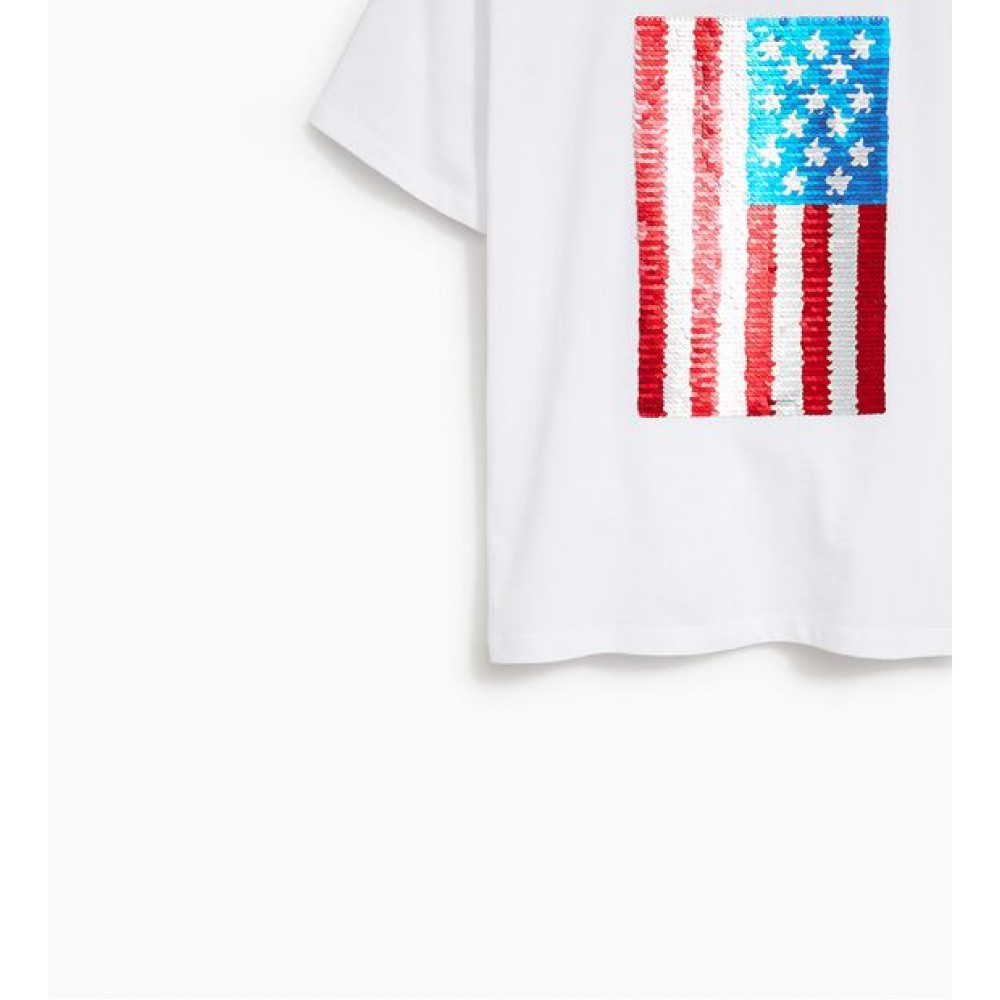 Zara T-Shirts With Sequinned Flag